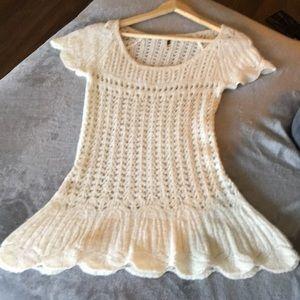 Free people wool blend open knit sweater top